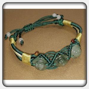 Jewelry - NWOT Woven Adjustable Jade Rose Bracelet